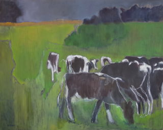 An Oil painting by Melissa Fraser in the Impressionist style  depicting Animals Farmland and Rural with main colour being Black Green and Grey and titled The sound of gentle tearing grass