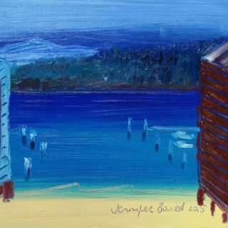 An Oil painting by Jennifer Baird in the Impressionist style  depicting Seascape Beach and Water with main colour being Blue and Red and titled Wagonga Inlet
