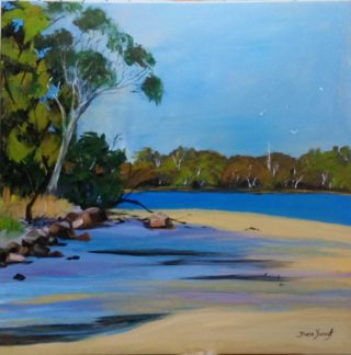 An Acrylic painting by Diane Yousouf in the Realist Impressionist style  depicting Seascape Beach Bush and Rocks with main colour being Blue Brown and Cream and titled Taylor's Beach
