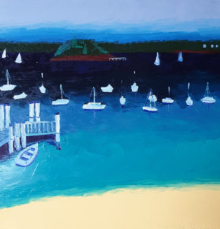 An Oil painting by Jennifer Baird in the Impressionist style  depicting Beach and Sea with main colour being Blue and Yellow and titled Lady Martins