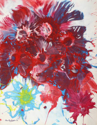 An Acrylic painting by Alex in the Abstract Expressionist style  depicting  Flowers with main colour being Red and White and titled Flower Abstract