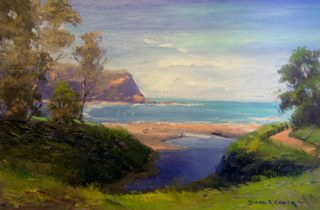 An Oil painting by Diana Garth in the Impressionist style  depicting Seascape Beach Trees and Water with main colour being Blue and Green and titled Beach shadows