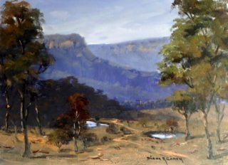 An Oil painting by Diana Garth in the Realist Impressionist style  depicting Landscape Hills Rural and Trees with main colour being Blue Green and Ochre and titled Twin Billabongs Kanimbla Valley