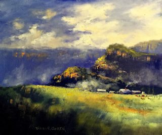 An Oil painting by Diana Garth in the Realist Impressionist style  depicting  Mountains and Trees with main colour being Blue Green and Grey and titled Mist in the Mountains