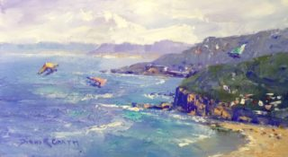 An Oil painting by Diana Garth in the Realist Impressionist style  depicting Beach Water and Waves with main colour being Blue Ochre and Olive and titled Hang Gliders Stanwell Tops
