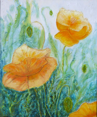 A Mixed Media artwork by Alex in the Contemporary style  depicting Flowers with main colour being Green and Yellow and titled Yellow Poppies