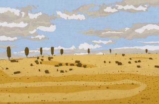 A Coloured Pencils painting by Richard Klekociuk in the Contemporary Realist style  depicting Landscape Farmland and Trees with main colour being Blue and Ochre and titled HOMAGE TO HYLAND'S FLAT