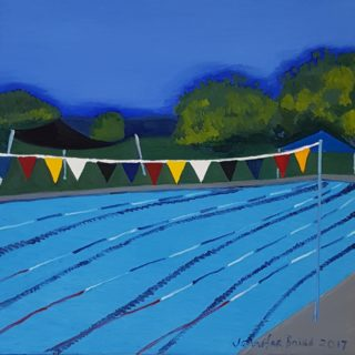 An Oil painting by Jennifer Baird in the Contemporary style  depicting Landscape with main colour being Blue and Green and titled Tumut Memorial Pool