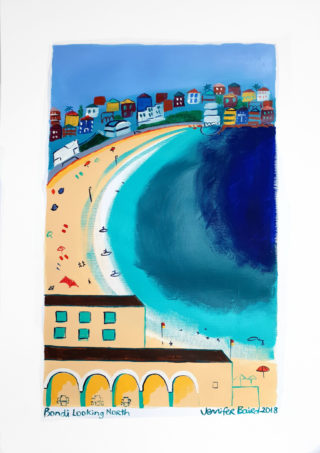 An Acrylic painting by Jennifer Baird in the Contemporary style  depicting Beach and Buildings with main colour being Blue and Cream and titled Bondi Looking North