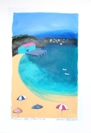 An Acrylic painting by Jennifer Baird in the Contemporary style  depicting Beach with main colour being Blue and Cream and titled Mitchies Jetty