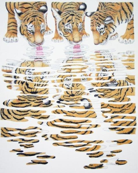 Coloured Pencils Painting by Janet Matthews titled Tiger Cubs Sharing a Drink