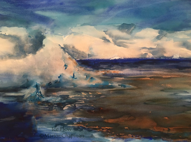 Watercolour Painting by Marion Chapman titled Ice Flow