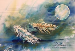 A Watercolour artwork by Marion Chapman in the Contemporary style  depicting Still Life Fantasy Interior and Night with main colour being Blue and Green and titled Moonlight Feathers