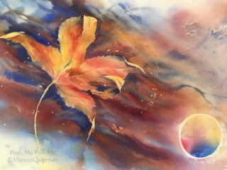 A Watercolour artwork by Marion Chapman in the Contemporary style  depicting Still Life Bush Fantasy and Trees with main colour being Brown Gold and Ochre and titled Push me, Pull me