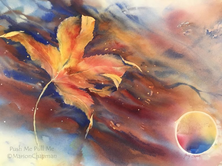Watercolour Painting by Marion Chapman titled Push me, Pull me