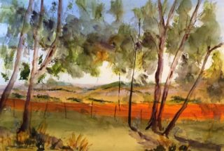 A Watercolour painting by Margaret Morgan Watkins depicting Landscape Rural and Trees with main colour being Blue Olive and Orange and titled View from H & H Monument
