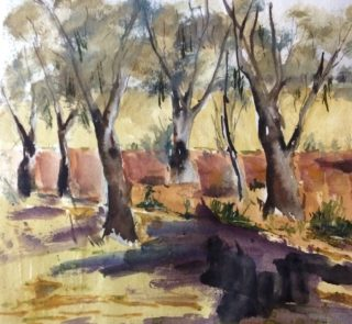 A Watercolour painting by Margaret Morgan Watkins depicting Landscape Outback and Trees with main colour being Brown and Olive and titled The Billabong