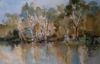 A Watercolour painting by Margaret Morgan Watkins depicting Landscape Bush Trees and Water with main colour being Blue Ochre and Olive and titled Reflections Lake Benalla