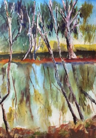 A Watercolour painting by Margaret Morgan Watkins depicting Landscape Bush Trees and Water with main colour being Blue Brown and Ochre and titled Goulburn River Reflections