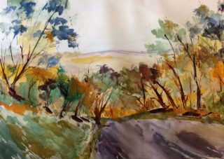 A Watercolour painting by Margaret Morgan Watkins depicting Landscape Rural and Trees and titled Down the Hill towards Kilmore East