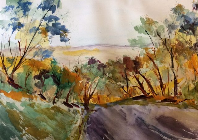 Mixed Media Painting by Margaret Morgan Watkins titled Down the Hill towards Kilmore East