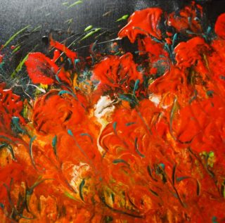 An Acrylic painting by Margaret Morgan Watkins depicting Flowers and titled And the Red Poppies Danced