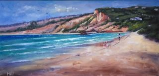 An Oil  painting  by Australian artist Moyra Le Blanc Smith in the Realist Impressionist style  depicting Seascape, Beach, Man and Sea with main colour being Blue and Cream and titled Anglesea Beach