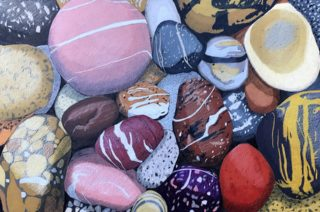 A Coloured Pencils painting by Richard Klekociuk in the Realist style  depicting Sea Rocks with main colour being Blue Brown and Pink and titled My Favourite Things