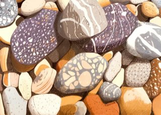 A Coloured Pencils painting by Richard Klekociuk in the Realist style  Rocks with main colour being Brown Cream and Grey and titled North West Tasmanian Stones