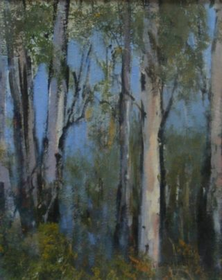 An Oil painting by Trish Bennett depicting Landscape Trees with main colour being Blue and Brown and titled Mystic Charm