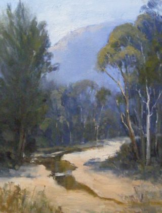 An Oil painting by Trish Bennett in the Realist Impressionist style  depicting Landscape Rural and Trees with main colour being Blue Brown and Green and titled River Reflections