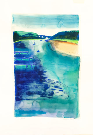 A Mixed Media painting by Jennifer Baird in the Abstract Impressionist style  depicting Beach Jetty and Sea with main colour being Blue Green and Yellow and titled Mossy Point