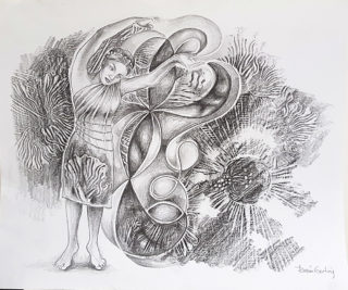 A Pencil painting by Renee Garling in the Contemporary style  depicting Woman Fantasy and Music with main colour being Black Grey and White and titled Jean Genie