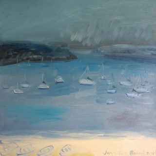 An Oil painting by Jennifer Baird in the Impressionist style  depicting Beach Rain and Sea with main colour being Cream and Grey and titled Rainy Day, Watsons Bay