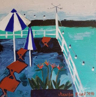 An Acrylic painting by Jennifer Baird in the Contemporary style  depicting Seascape Sea and Water with main colour being Blue Green and Olive and titled Blue and White Umbrellas