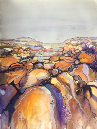 A Mixed Media artwork by Diana Bradshaw in the Impressionist style  depicting  Rocks with main colour being Grey Orange and Purple and titled Rock Solid
