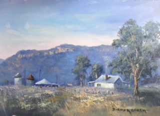 An Oil painting by Diana Garth in the Realist Impressionist style  depicting Landscape Buildings Bush and Farmland with main colour being Blue Brown and Green and titled Rylstone Farmhouse