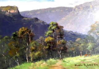 An Oil painting by Diana Garth in the Realist Impressionist style  depicting Landscape Bush Mountains and Rural with main colour being Blue Green and Ochre and titled Last Light in the Valley