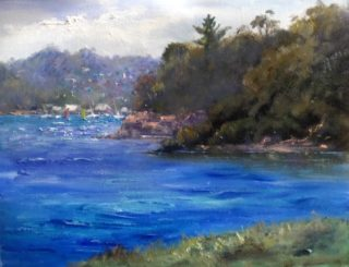An Oil painting by Diana Garth in the Realist Impressionist style  depicting River Rocks and Trees with main colour being Blue Purple and White and titled At Blakehurst