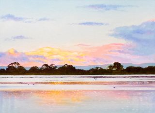 A  painting by Gregory Pastoll depicting Landscape River with main colour being Blue Brown and Pink and titled Canning River View