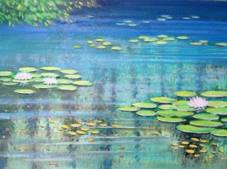 An Oil painting by Gregory Pastoll in the Realist Impressionist style  depicting Lake and Water with main colour being Blue Green and Yellow and titled Pond Surface