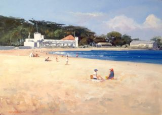 An Oil painting by Richard Chamerski in the Realist Impressionist style  depicting Beach with main colour being Blue and Ochre and titled Williamstown Beach