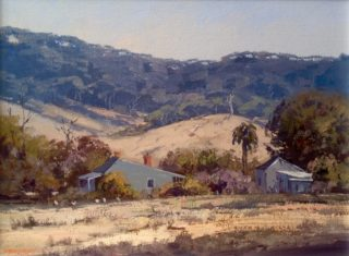 An Oil painting by Richard Chamerski in the Realist Impressionist style  depicting Landscape Mountains and Rural with main colour being Blue Grey and Ochre and titled Chewton Cottage