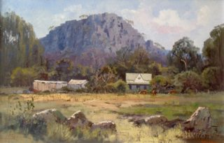 An Oil painting by Richard Chamerski in the Realist Impressionist style  depicting Landscape Hills and Rural with main colour being Blue and Ochre and titled Early Morning, Hanging Rock