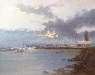 An Oil painting by Richard Chamerski in the Realist Impressionist style  depicting Sea Boats and Water with main colour being Blue and Grey and titled Dusk, Williamstown