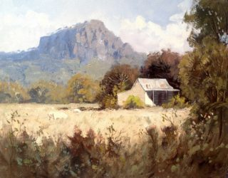 An Oil painting by Richard Chamerski in the Realist Impressionist style  depicting Landscape Hills and Rural with main colour being Blue Ochre and Olive and titled Cottage near Hanging Rock