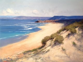 An Oil painting by Richard Chamerski in the Realist Impressionist style  depicting Beach with main colour being Blue and Ochre and titled Summer, Point Addis