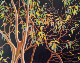 An Acrylic painting by Gregory Pastoll in the Illustrative style  depicting Trees with main colour being Black Brown and Green and titled The Rhythm of Growth