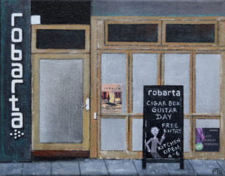A Mixed Media artwork by Pauline Bailey in the Contemporary Realist style  depicting Buildings and Music with main colour being Black and Brown and titled Robarta, Fitzroy Street