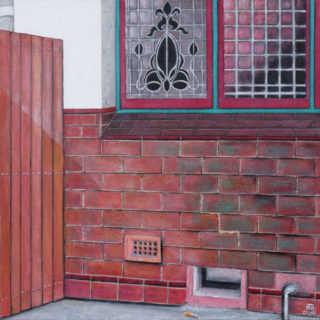 An Acrylic painting by Pauline Bailey in the Contemporary Realist style  depicting Buildings with main colour being Brown and Pink and titled Yarram Pub